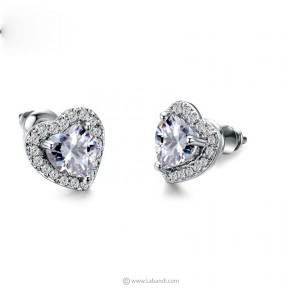 Zirconia Heart Stud Earrings