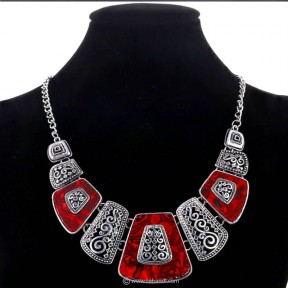 Bohemia Ethnic Necklace - RED