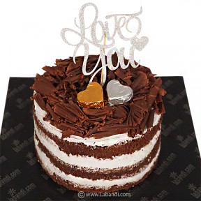 Love U Chocolate Nude Cake