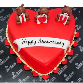 Love Beary Red Heart Cake -...