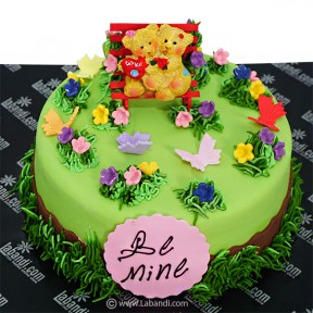 The Couple in Garden Cake