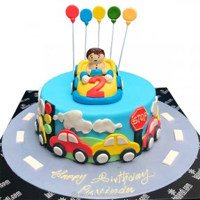 Birthday Boy on Car Cake -...
