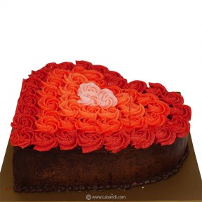 Red Rosette Heart Cake - 1kg