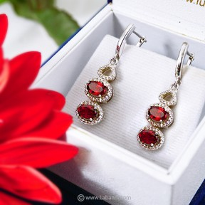 Garnet/ Zirconia Earrings