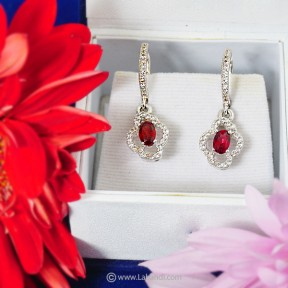 Garnet /Zirconia Earrings