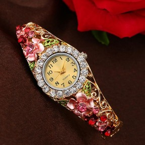 Crystal Flower Bracelet Watch