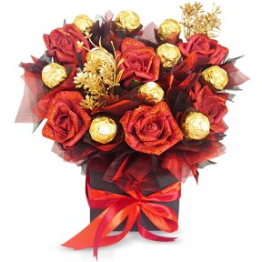 Vase with Rocher and Red Roses