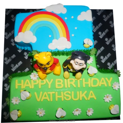 Pooh with Mickey 1st Year Cake