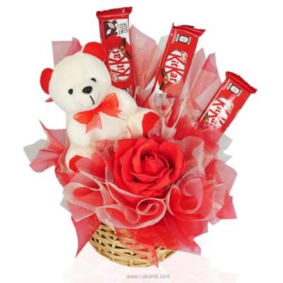 Teddy in Kitkat Basket