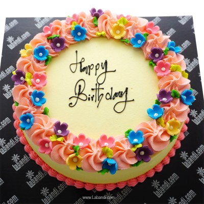 Birthday Round Ribbon Cake...