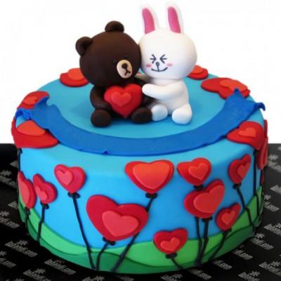 Bear Love Couple Cake