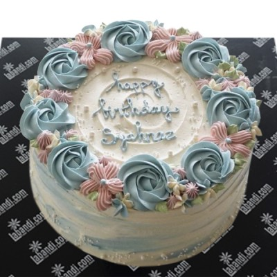Blue Celebration Rose Cake
