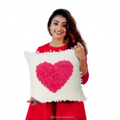 Rose Heart Cushion Pillow -...