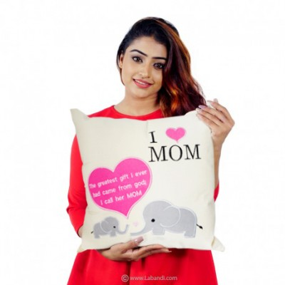 "I Love Mom Pillow - 18""X18"""