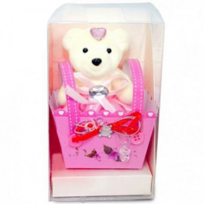 Bear-in-a-Box Ornament - PINK