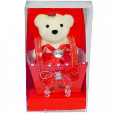 Bear-in-a-Box Ornament - RED