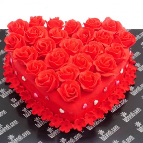 Red Delight Heart Cake